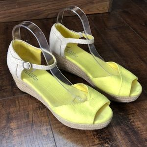 Toms Yellow Tan Canvas Wedges Espadrilles